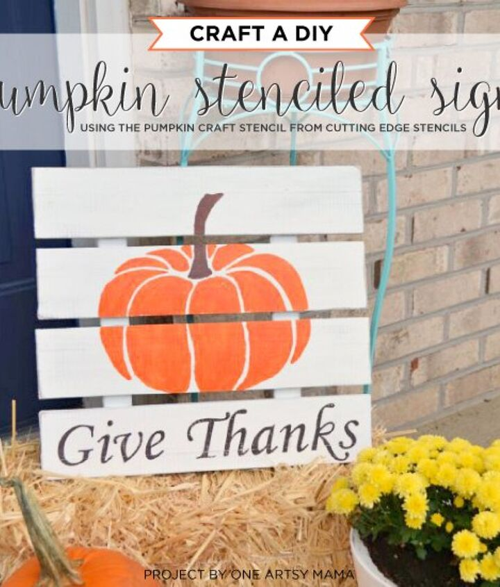 craft a diy pumpkin stenciled sign, crafts, halloween decorations, pallet, repurposing upcycling, seasonal holiday decor