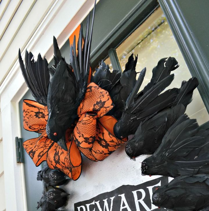 Black Flower And Crow Halloween Wreath: She Glues Dollar Store Crows To A Piece Of Cardboard, And