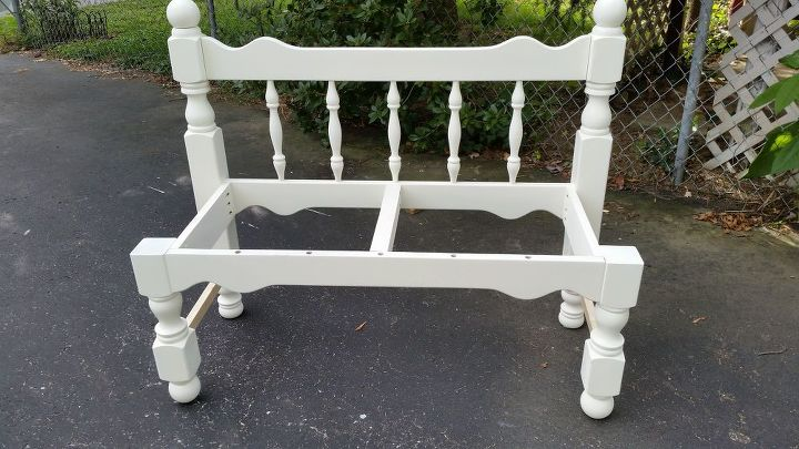 white twin bed headboard bench, painted furniture, repurposing upcycling