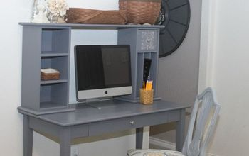 desk redo with general finishes milk paint in driftwood, painted furniture
