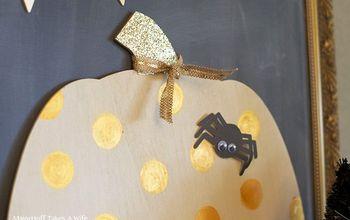 one wooden pumpkin crafted 8 ways glittery polka dot pumpkin, chalkboard paint, crafts, halloween decorations, how to