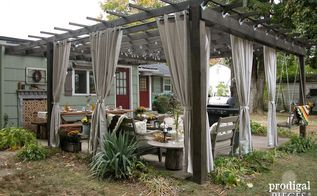 rustic pergola and patio makeover, diy, fireplaces mantels, outdoor furniture, outdoor living, patio, woodworking projects