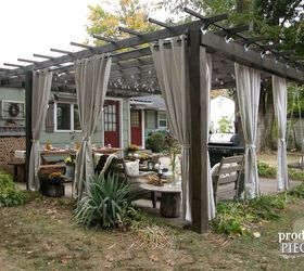 Rustic Pergola And Patio Makeover, Diy, Fireplaces Mantels, Outdoor  Furniture, Outdoor Living