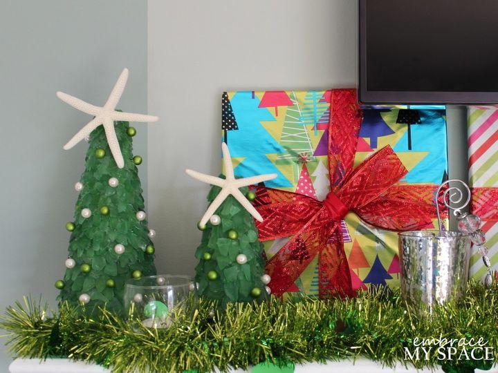 diy sea glass christmas trees, christmas decorations, crafts, seasonal holiday decor