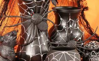 halloween spider web vases, crafts, halloween decorations, seasonal holiday decor
