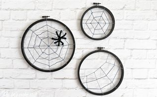 spooky spider web hoops, crafts, halloween decorations