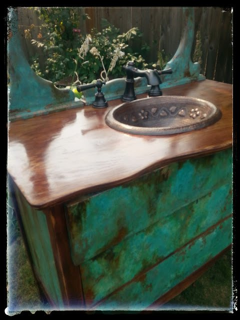 Sk 39 S Copper Patina And Oak Bath Vanity Hometalk