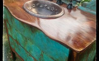 sk s copper patina and oak bath vanity, bathroom ideas, chalk paint, painted furniture, painting, repurposing upcycling, woodworking projects