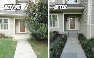 front walkway driveway renovation before after, concrete masonry, curb appeal, landscape