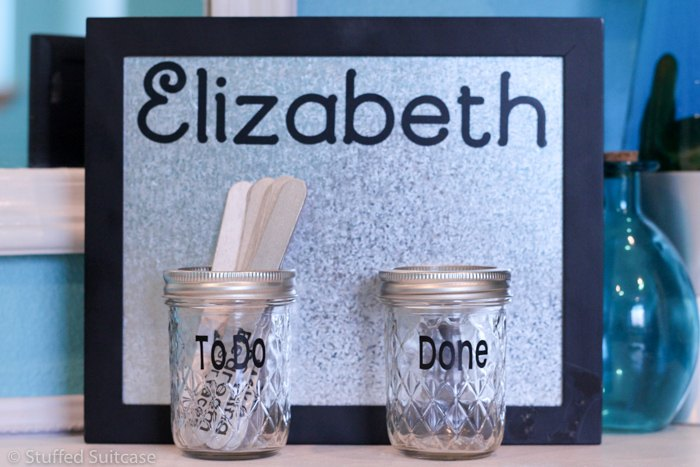 kids chore chart system with popsicle sticks, crafts, organizing