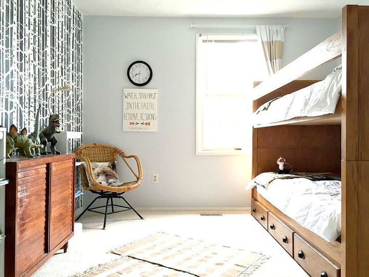 a birch forest stenciled boys bedroom makeover, bedroom ideas, painting, wall decor