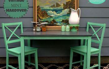 vintage mint roadside rescue table and chairs makeover, painted furniture
