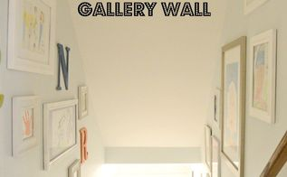 kid art gallery wall, home decor, stairs, wall decor