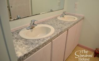 easy faux granite countertops, bathroom ideas, countertops, diy, painting