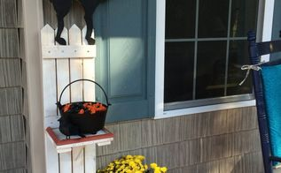diy picket fence halloween candy holder, halloween decorations, porches, repurposing upcycling, seasonal holiday decor