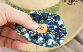 fabric flower embellishments for a straw hat, crafts, Country fashion with these fabric flowers