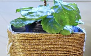 diy natural rope planter, container gardening, crafts, repurposing upcycling