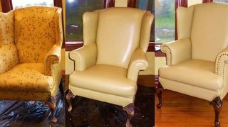 q two chairs failing is there a paint on fix for leather or faux, furniture repair, how to, painted furniture, painting upholstered furniture, repurposing upcycling, Before during and after I did two