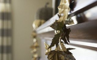 inexpensive diy fall garland, crafts, fireplaces mantels, seasonal holiday decor