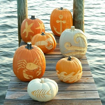 Carved Pumpkins inspired by the Sea