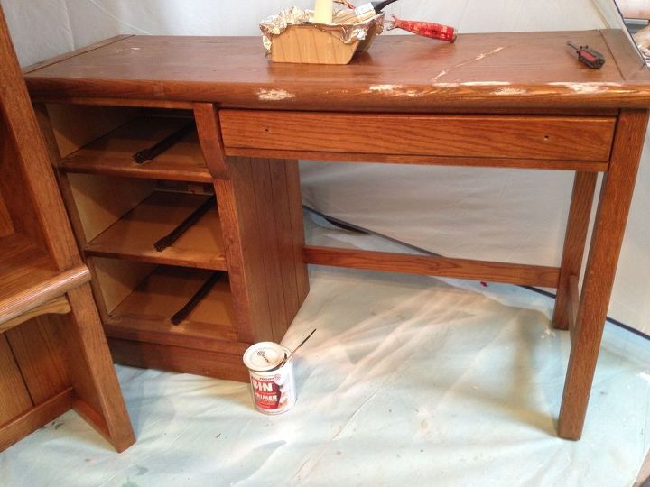 90 s oak desk and hutch makeover, painted furniture, woodworking projects