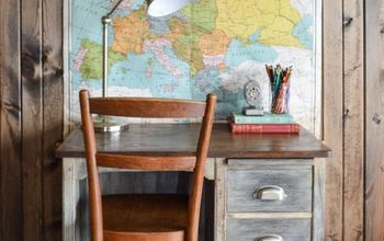 modern farmhouse inspired school desk makeover, chalk paint, painted furniture