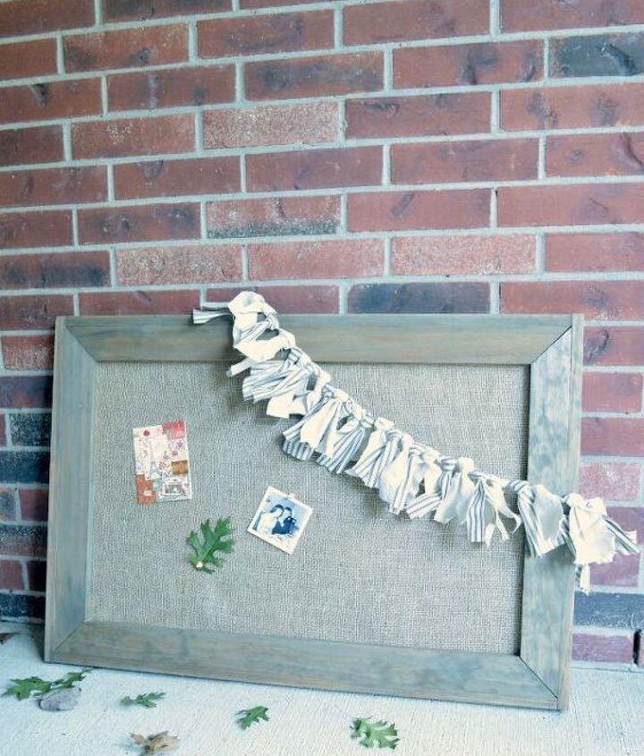 framed burlap bulletin board, crafts, diy, organizing