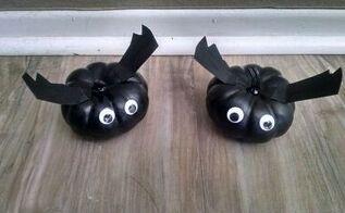 fun halloween decor pumpkin bats, halloween decorations, home decor, seasonal holiday decor, Completed pumpkin bats