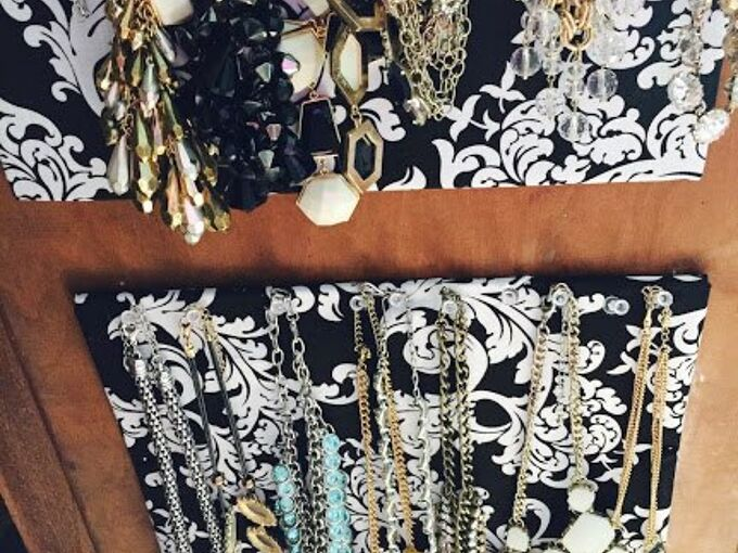 diy necklace holder out of cork board and fabric, crafts, organizing