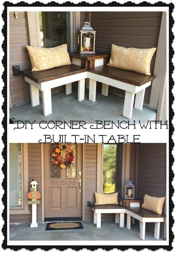 Diy corner bench with built in table hometalk for Front porch table ideas