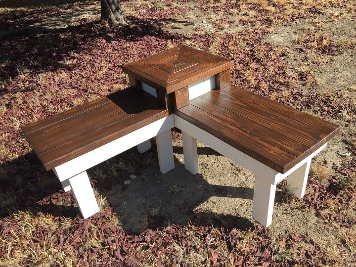 diy corner bench with built in table, diy, outdoor furniture, painted furniture, rustic furniture, woodworking projects