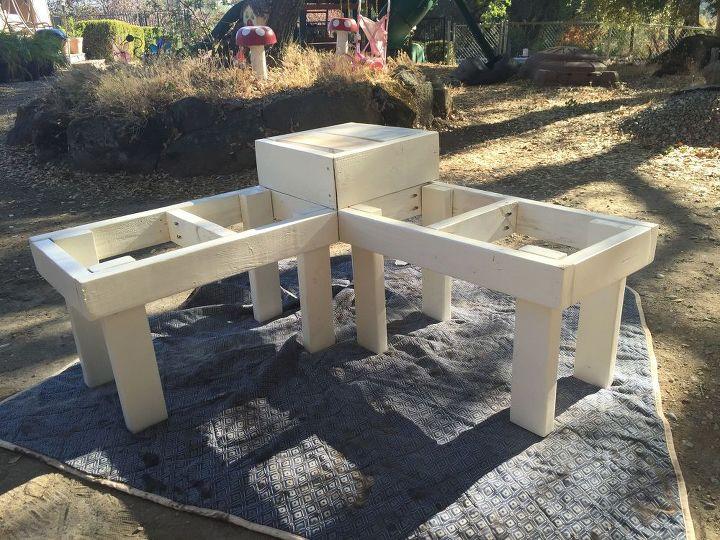 diy corner bench with built in table, diy, outdoor furniture, painted  furniture, - DIY Corner Bench With Built-In Table Hometalk
