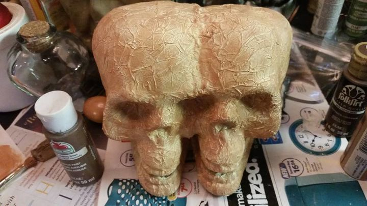 dollar store skulls tricked out, crafts, decoupage, halloween decorations