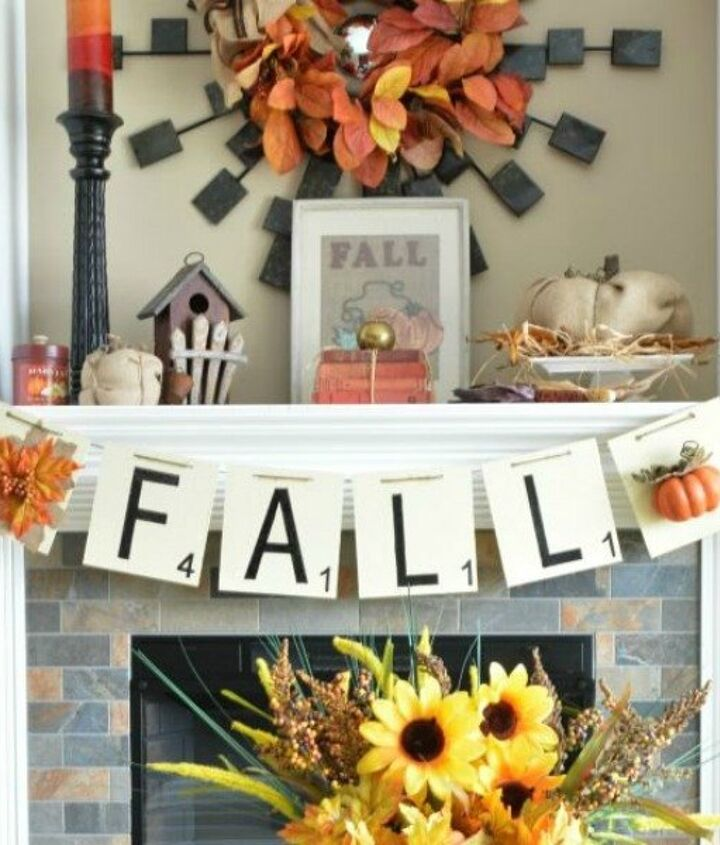 s here s how insanely creative people get ready for holiday guests, home decor, seasonal holiday decor, woodworking projects, Fall Scrabble Banner