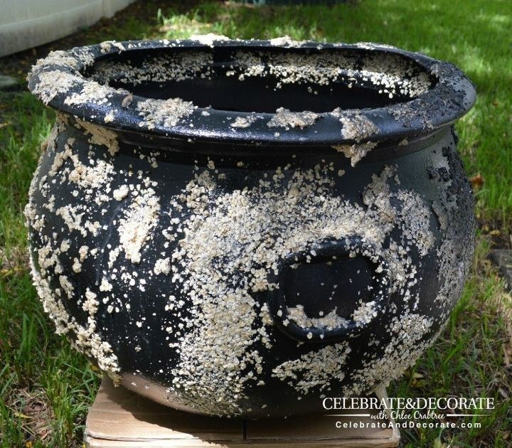 create a creepy looking cauldron from a plastic one, crafts, halloween decorations, seasonal holiday decor
