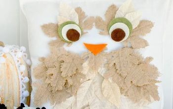Fall Burlap Leaf Owl Pillow