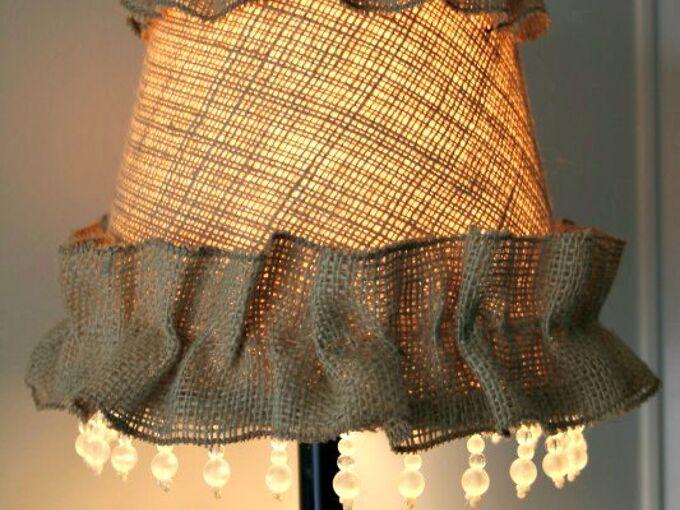 rustic burlap lampshade, crafts