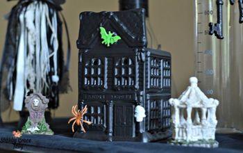 diy spooky halloween village, halloween decorations, seasonal holiday decor