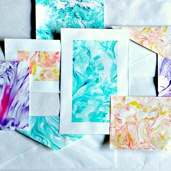 Paper Marbling Using Shaving Cream and Food Coloring | Hometalk