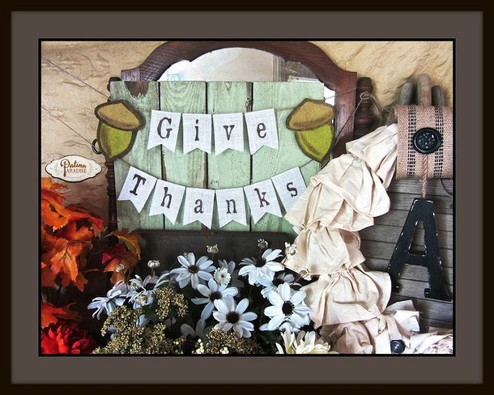 give thanks mini burlap banner, crafts, seasonal holiday decor, thanksgiving decorations