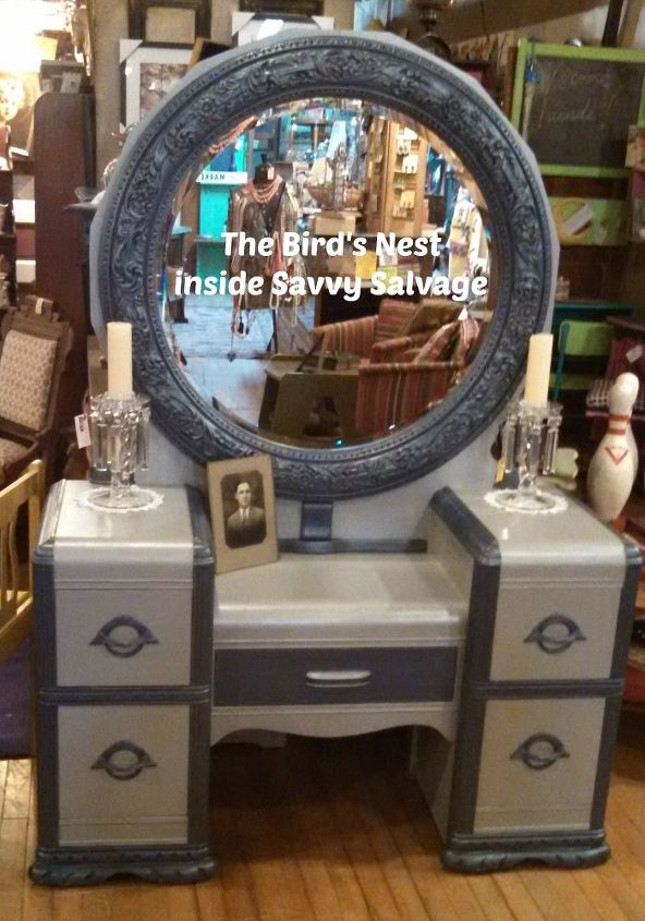 waterfall vanity brought back to life, painted furniture, repurposing upcycling, shabby chic