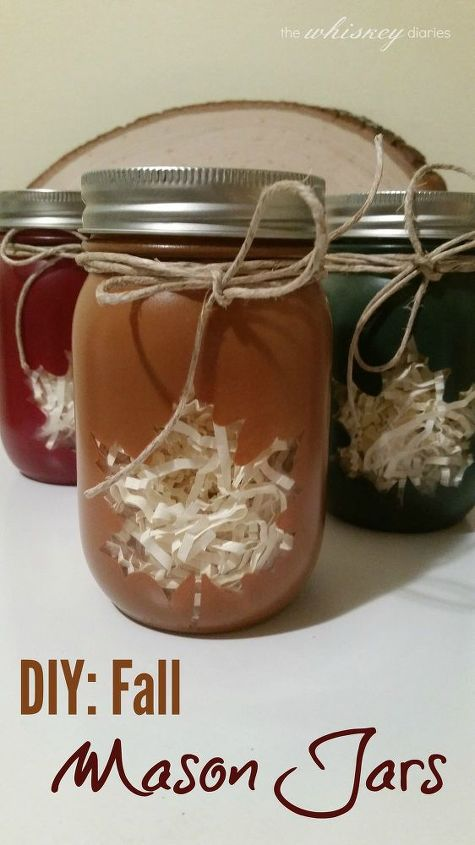 diy spray painted autumn mason jars, crafts, mason jars, seasonal holiday decor