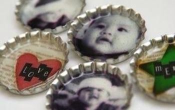 bottle cap magnets, crafts, repurposing upcycling, Use photos or craft paper for your background