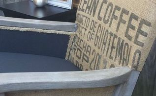 burlap coffee sack rocking chair with a restoration hardware finish, painted furniture, repurposing upcycling, reupholster