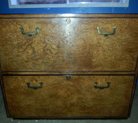 Beautiful Restored Mid Century Burlwood Cabinet With A Modern Touch, Painted Furniture
