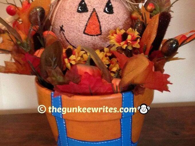 scarecrow terra cotta pot fall decoration, crafts, seasonal holiday decor