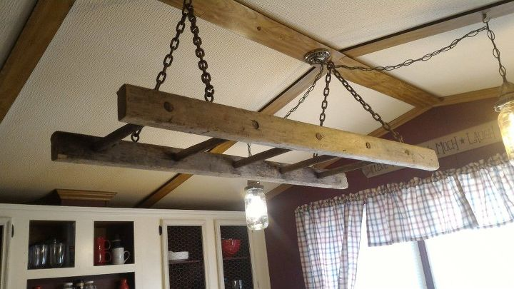 barn loft ladder chandelier, diy, lighting, repurposing upcycling