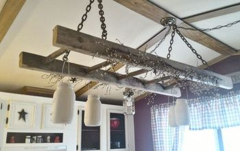 barn loft ladder chandelier, diy, lighting, repurposing upcycling