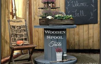 use a wooden spool as a patio table, diy, outdoor furniture, painted furniture, repurposing upcycling