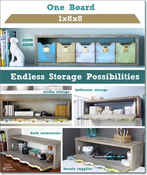 plenty o storage from one board, organizing, shelving ideas, storage ideas, woodworking projects